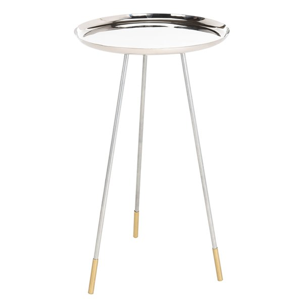 Safavieh Calix Round Solver Side Table with Gold Capped legs