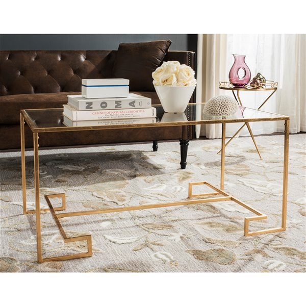 Safavieh Burton Glass Rectangular Coffee Table with Antique Gold Leaf finish