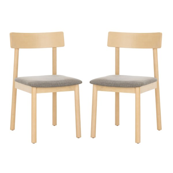 Safavieh Lizette Retro Dining Chair  - Gray Seat and White Finish (Set Of 2)