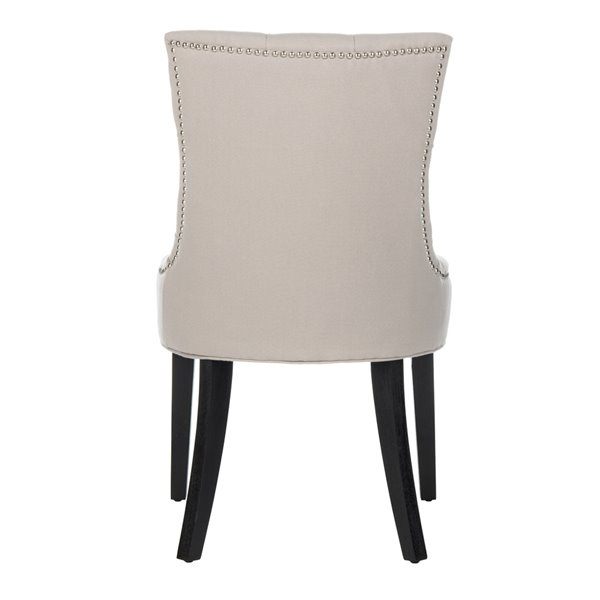 Safavieh Abby 19-in H Tufted Side Chair  with Silver Nail Heads - Taupe Seat and Rustic Black Finish (Set Of 2)