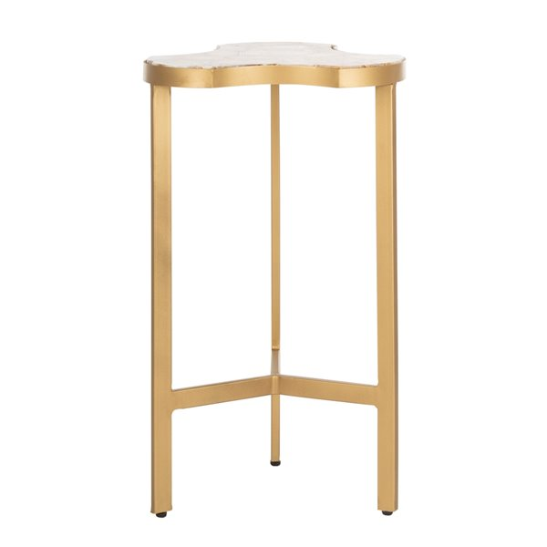 Safavieh Suki Tripod Round Accent Table with White Top and Gold Frame