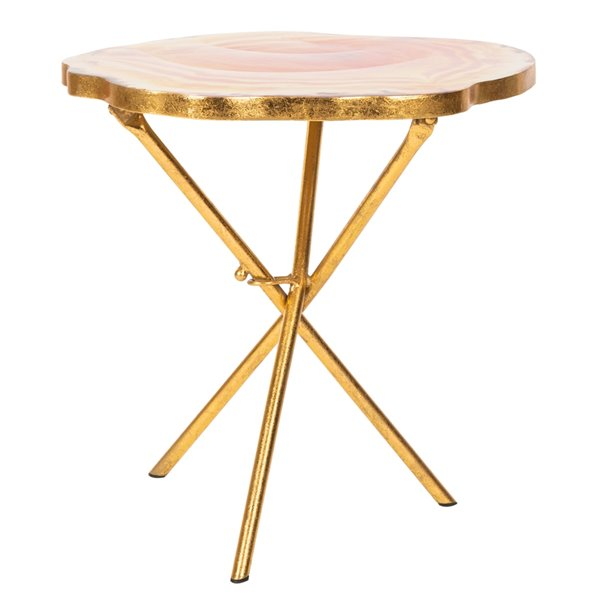 Safavieh Giselle Faux Agate Side Table - Multi Orange Table Top with Gold Finish