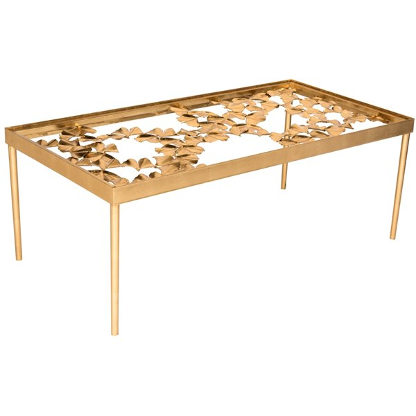 Safavieh Otto Ginkgo Gold Leaf and Glass Rectangular Coffee Table