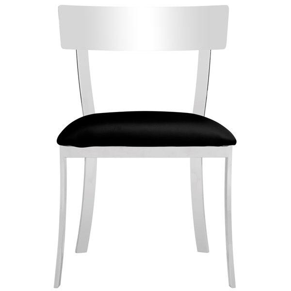 Safavieh Abby 19-in H Side Chair  - Black Seat and Chrome Finish (Set Of 2)
