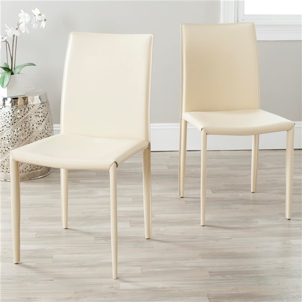 Safavieh Karna 19-in H Dining Chair  - Cream Seat and Finish (Set Of 2)