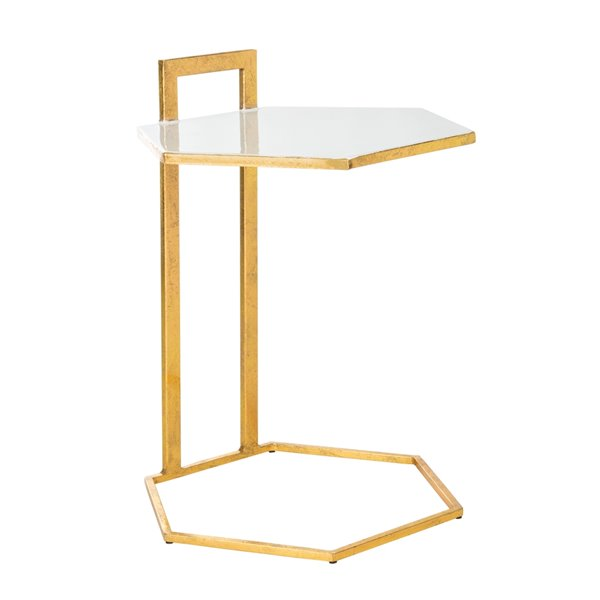 Safavieh Mirasol Hexagon White and Gold C Table