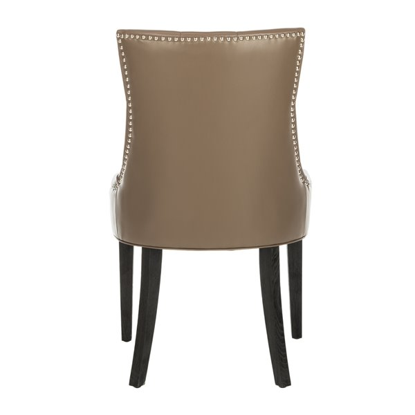 Safavieh Abby 19-in H Tufted Side Chair  with Silver Nail Heads - Clay Seat and Rustic Black Finish (Set Of 2)