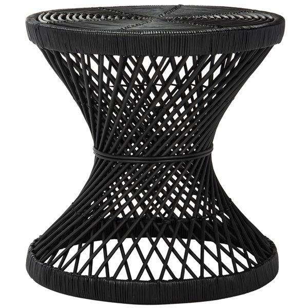 Safavieh Grimson Small Bowed Black Wicker Accent Table - 23.6-in Diameter