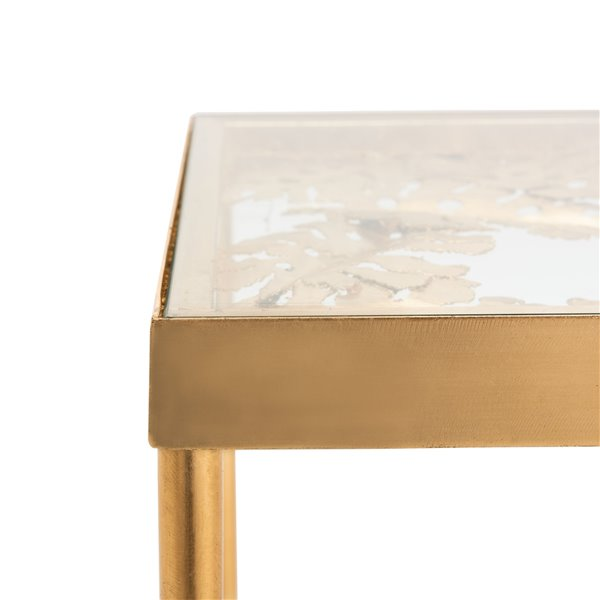 Safavieh Leilani Palm Leaf Glass Side Table with Gold Leaf Finish