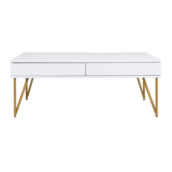 Safavieh Pine Two Drawer Rectangular Coffee Table - White