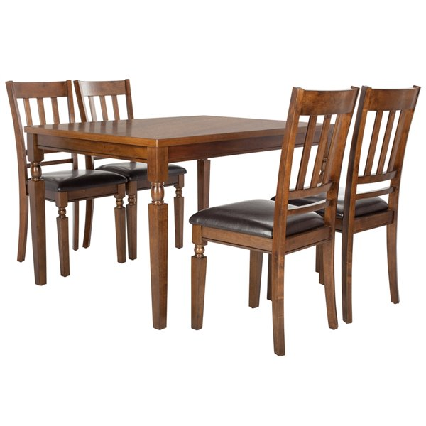 Safavieh Kodiak 5 Piece Dining Set - Light Oak and Black - 36-in L x 48-in W - Sits 4