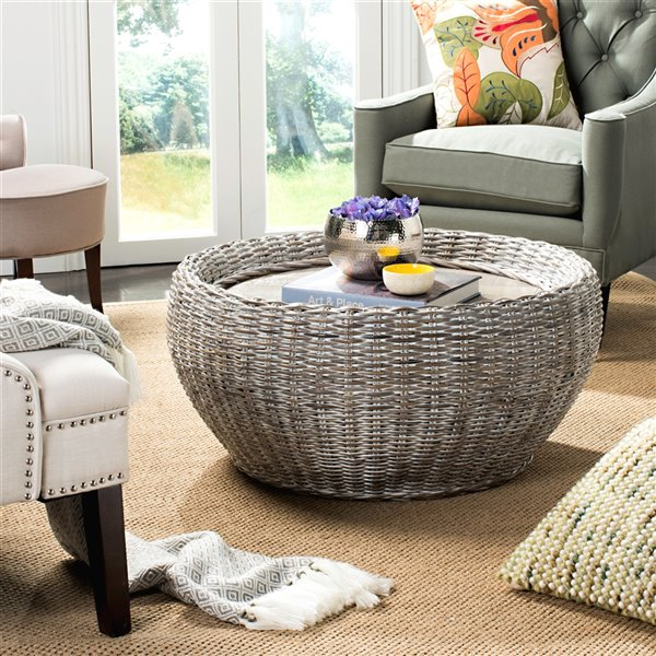 Safavieh Alley Wood Top / Wicker Base Coffee Table - Whitewash - 35.4-in Diameter