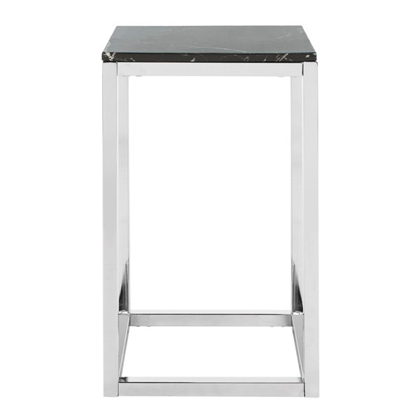 Safavieh Leah Square Side Table with Black Marble Top and Chrome Base