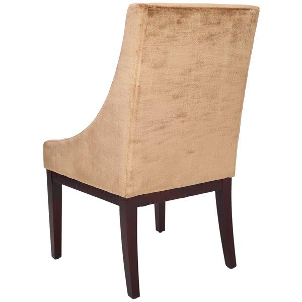 Safavieh Velvet Sloping Arm Chair - Mink Brown/Cherry Mahogany