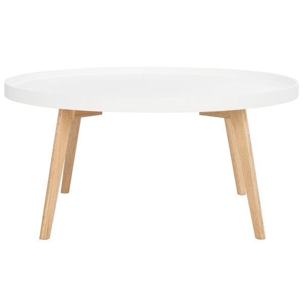 Safavieh Rue Round Coffee Table -  White Table Top and natural Legs - 35.4-in Diameter