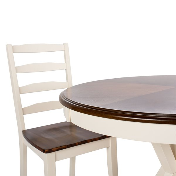 Safavieh Shay 5 Piece 40-in Round Dining Set - White and Natural -   - Sits 4