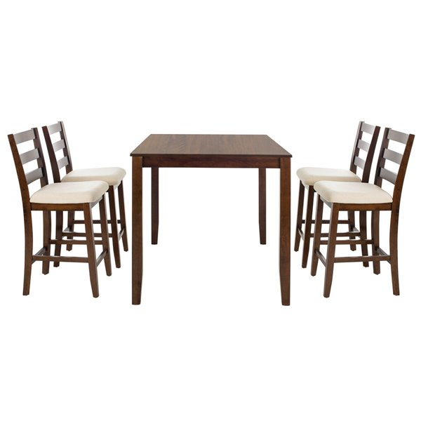 Safavieh Melvin 5 Piece Pub Set - Brown and Beige - 36-in L x 48-in W - Sits 4