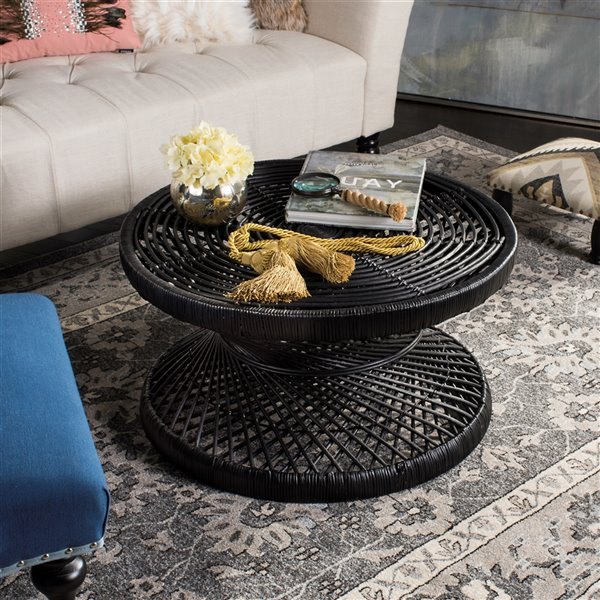 Safavieh Grimson Large Bowed Black Wicker Coffee Table - 31.5-in Diameter