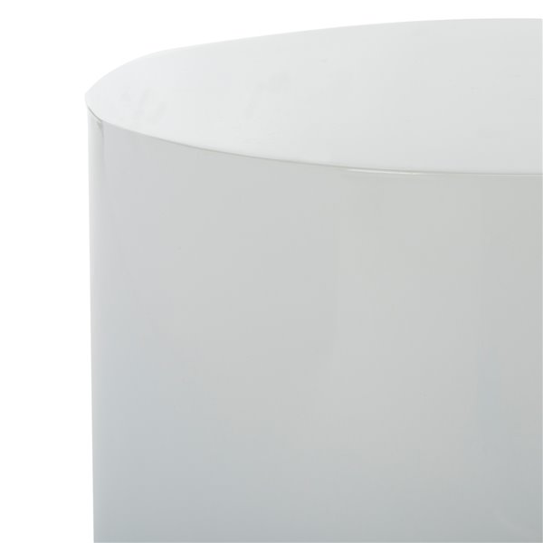 Safavieh Angelo Round Side Table,  Smooth White Top and Gold Trimmed  Base