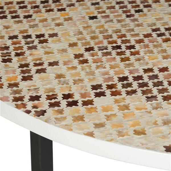 Safavieh Cheyenne Cream and Brown Mosaic Rpund Coffee Table - 39.8-in Diameter