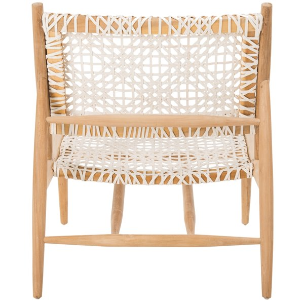 Safavieh Bandelier Leather Weave Accent Chair - Off-White/Natural