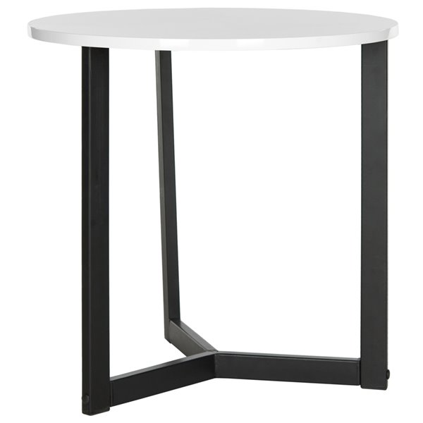 Safavieh Leonard White Lacquer Side Table with Black Legs