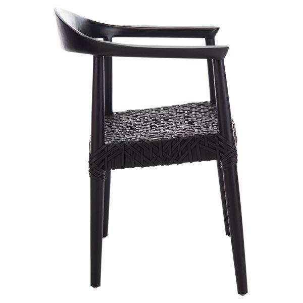 Safavieh Juneau Leather Woven Accent Chair - Black