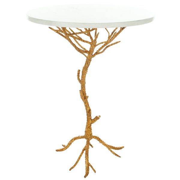 Safavieh Carolyn Round White Table Top Accent Table with Faux Wood Golden Brass Branch Base