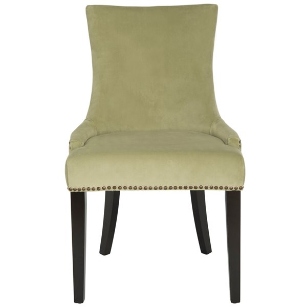 Safavieh Lester 19-in H Dining Chair  with Brass Nail Heads - Mint Seat and Rustic Black Finish (Set Of 2)