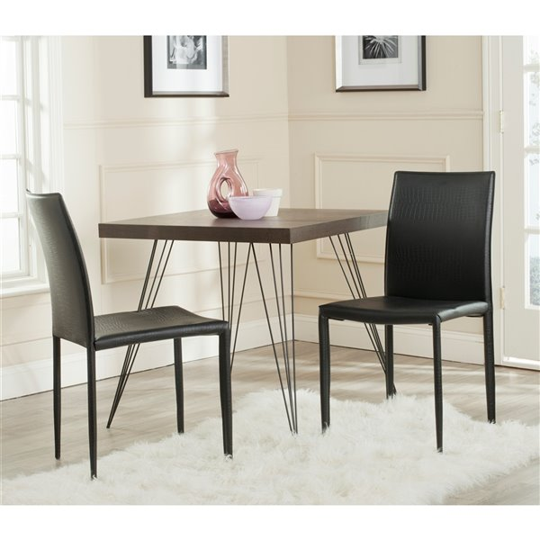 Safavieh Karna 19-in H Dining Chair  - Black Seat and Finish (Set Of 2)