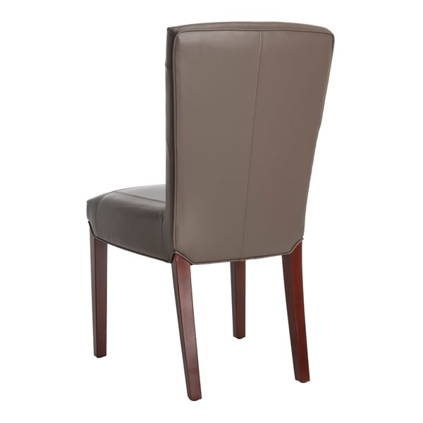 Safavieh Ken 19-in H Leather Side Chair  - Clay Seat and Cherry Finish (Set Of 2)