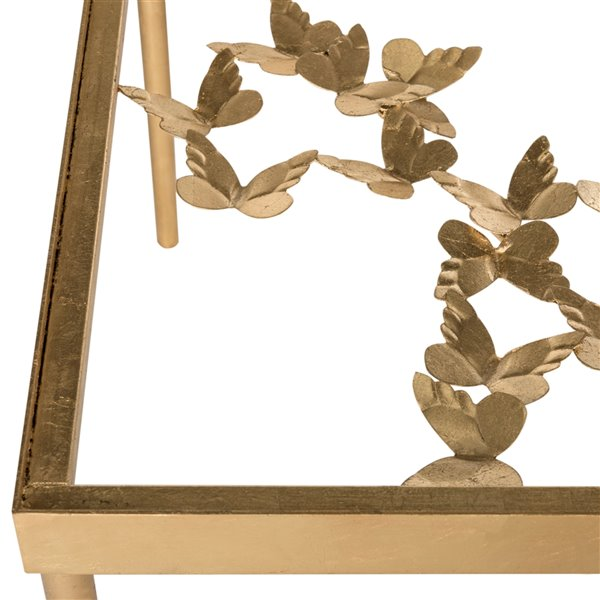 Safavieh Rosalia Butterfly Glass and Gold Rectangular Coffee Table
