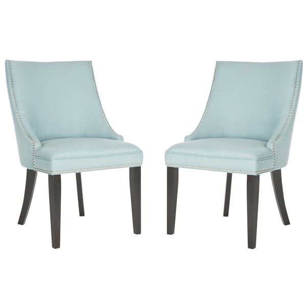 Safavieh Afton 20-in H Side Chair  with Silver Nail Heads - LIGHT BLUE Seat and Rustic Black Finish (Set Of 2)