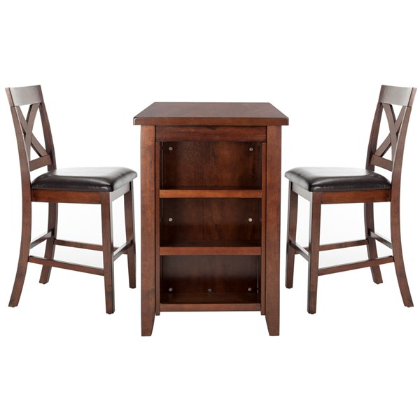 Safavieh Everest 3 Piece Pub Set - Mahogany and Black - 24-in L x 42-in W - Sits 2