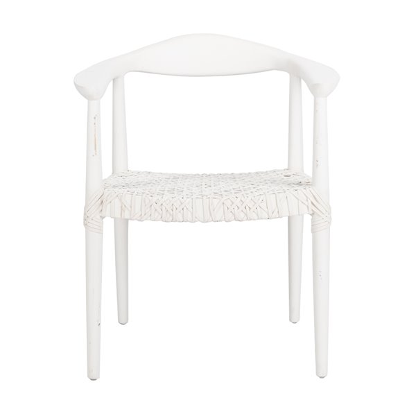 Safavieh Juneau Leather Woven Accent Chair - White/Off-White
