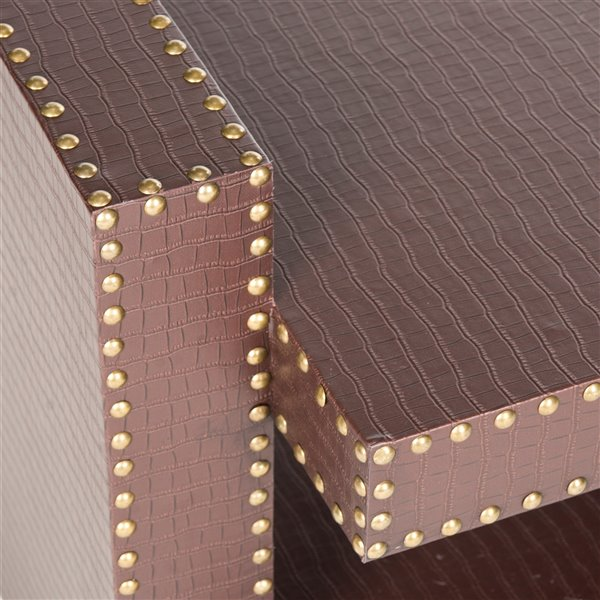 Safavieh Garson Rectangular Faux Leather Brown Accent Table