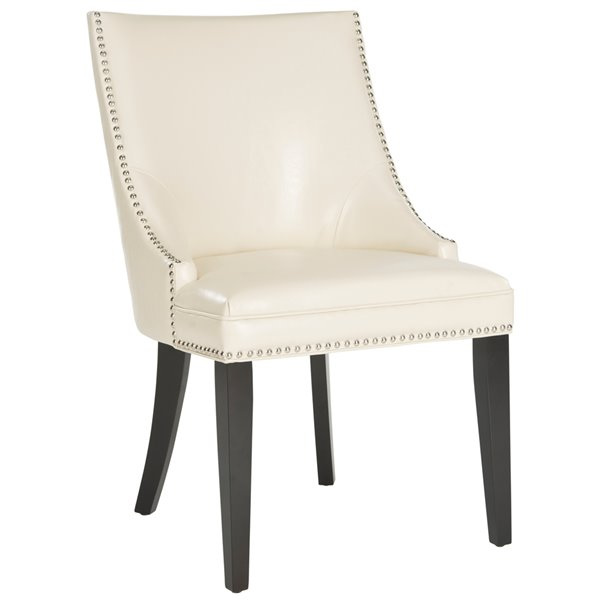 Safavieh Afton 20-in H Side Chair  with Nickel Nail Heads - Flat Cream Seat and Rustic Black Finish (Set Of 2)