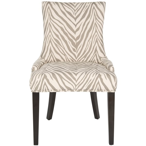 Safavieh Lester 19-in H Dining Chair  with Silver Nail Heads - Grey Zebra Seat and Rustic Black Finish (Set Of 2)