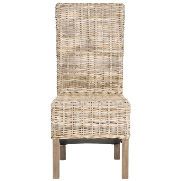 Safavieh Pembrooke 19-in H Rattan Side Chair  - Antique Grey Seat and Finish (Set Of 2)