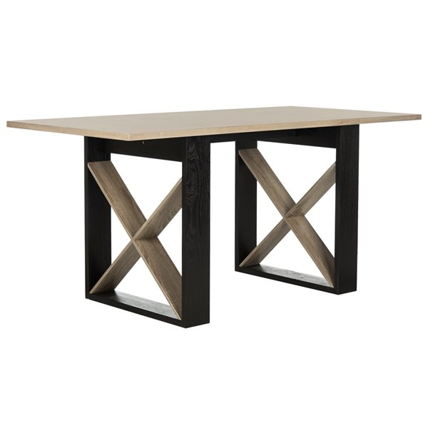 Safavieh Monty Retro Mid Century Wood Dining Table - Light Oak and Black - 31.5-in L x 63-in W - Sits 4