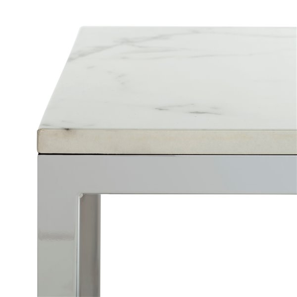 Safavieh Bethany Square Wood End Table with White Marble Finish and Chrome Frame