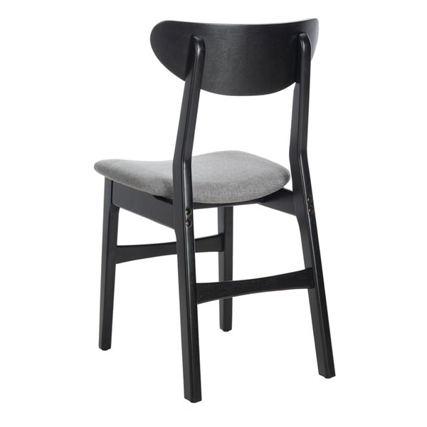 Safavieh Lucca Retro Dining Chair  - Black Seat and Finish (Set Of 2)
