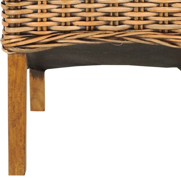 Safavieh Isla 18-in H Rattan Side Chair  - Light Walnut Seat and Finish (Set Of 2)