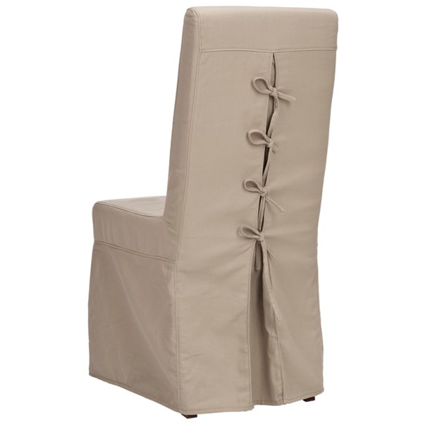 Safavieh Adrianna 19-in H Linen Slipcover Chair  - Ecru Seat and Cherry Finish (Set Of 2)