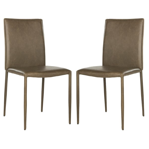 Safavieh Karna 19-in H Dining Chair  - Antique Brown Seat and Finish (Set Of 2)