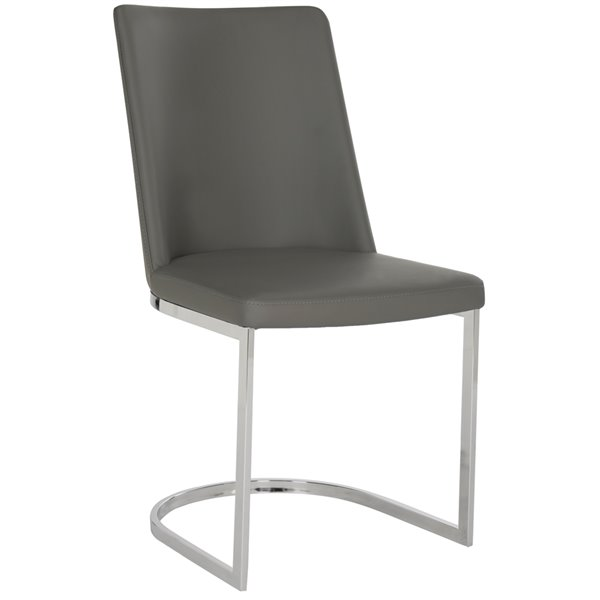 Safavieh Parkston 18-in H Leather Side Chair  - Grey Seat and Chrome Finish (Set Of 2)