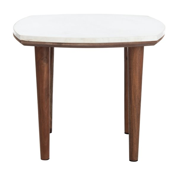 Safavieh Lara Marble Side Table with White Marble Top and Wood legs