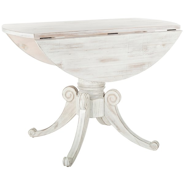 Safavieh Forest Drop Leaf  43.3-in Round Dining Table - Antique White -   - Sits 4