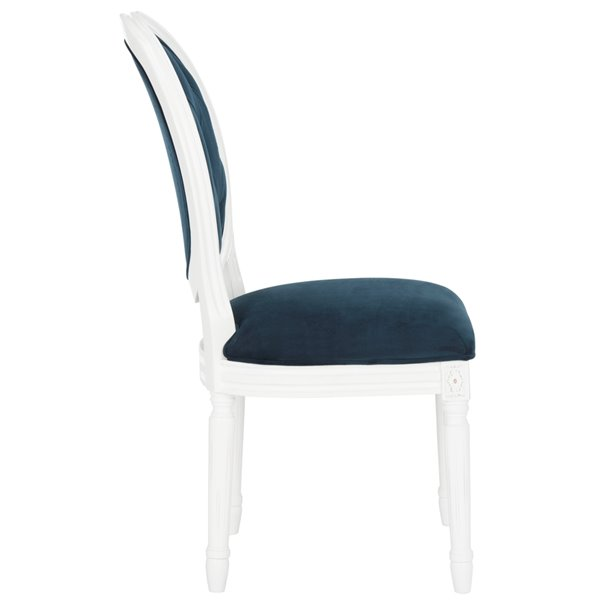 Safavieh Holloway Tufted Oval Side Chair  - Navy Seat and White Finish (Set Of 2)