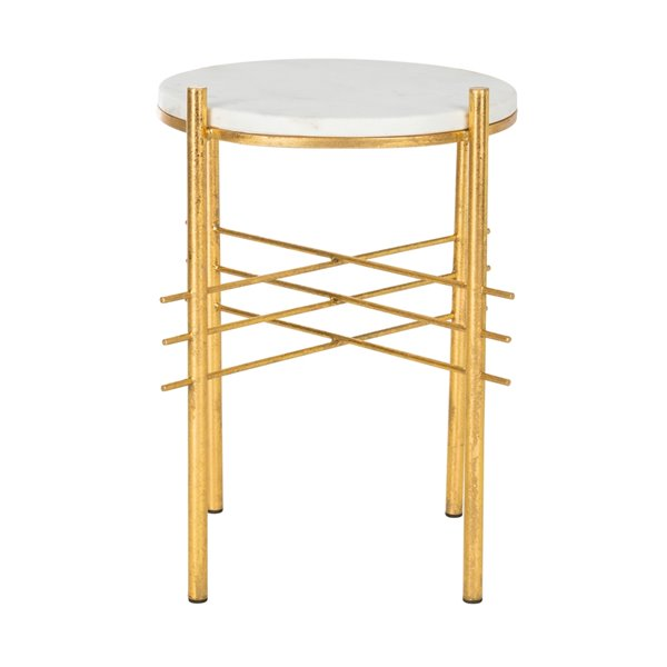 Safavieh Jenesis Round Accent Table with White Marble Top and Gold Geometric Base
